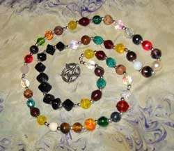 'High Priest' style Wiccan prayer beads, large stone/glass